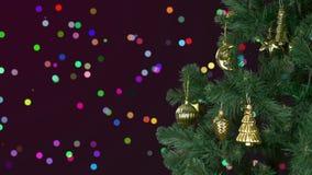 Noël abstrait de fond célèbrent La veille de vacances de Noël Arbre de sapin vert avec le décor d'or Noël de salutation et clips vidéos