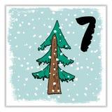 Noël Advent Calendar Éléments et nombres tirés par la main Photos libres de droits
