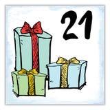 Noël Advent Calendar Éléments et nombres tirés par la main Images libres de droits