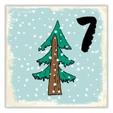 Noël Advent Calendar Éléments et nombres tirés par la main Design de carte de calendrier de vacances d'hiver, illustration de vec Photo stock