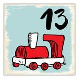 Noël Advent Calendar Éléments et nombres tirés par la main Design de carte de calendrier de vacances d'hiver, illustration de vec Images stock