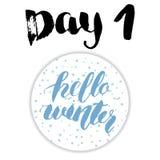 Noël Advent Calendar Éléments et nombres tirés par la main Design de carte de calendrier de vacances d'hiver, illustration de vec Photos stock