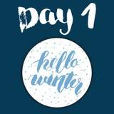 Noël Advent Calendar Éléments et nombres tirés par la main Design de carte de calendrier de vacances d'hiver, illustration de vec Photographie stock libre de droits