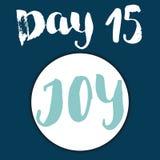 Noël Advent Calendar Éléments et nombres tirés par la main Design de carte de calendrier de vacances d'hiver, illustration de vec Image stock
