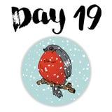 Noël Advent Calendar Éléments et nombres tirés par la main Design de carte de calendrier de vacances d'hiver, illustration de vec Photos libres de droits