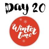 Noël Advent Calendar Éléments et nombres tirés par la main Design de carte de calendrier de vacances d'hiver, illustration de vec Photographie stock