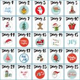 Noël Advent Calendar Éléments et nombres tirés par la main Les vacances d'hiver classent des cartes scénographie, illustration de Photographie stock libre de droits