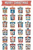 Noël Advent Calendar de bande dessinée de hippie Images stock
