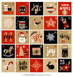 Noël Advent Calendar main d'éléments dessinée par conception Image stock