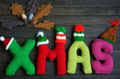 Noël, alphabet de Noël, fait main, tricoté, cadeau de noel Images libres de droits
