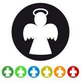 Noël Angel Icon - illustration colorée de vecteur - d'isolement sur le blanc Image stock
