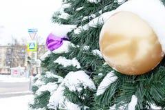 Noël, arbre de sapin de vert de nouvelle année décoré des boules en verre et s'est recroquevillé avec la neige sur la rue de vill images stock