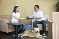 Noël asiatique de couples Images libres de droits