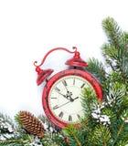 Noël avec le réveil, arbre de sapin de neige Image stock
