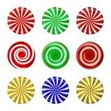 Noël a barré l'ensemble de sucrerie Sucrerie en spirale de menthe de bonbon avec des rayures Illustration de vecteur sur un fond  Photographie stock libre de droits