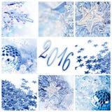 2016, Noël bleu ornemente la carte de voeux Photos libres de droits