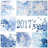 2017, Noël bleu ornemente la carte de voeux de collage Photographie stock