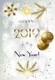 Noël Bokeh de bonne année de vacances d'hiver 2019 allume la CARTE de Coral Trendy Decoration Gold illustration libre de droits
