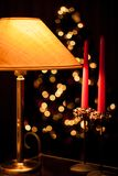 Noël Bokeh et bougies Photos stock