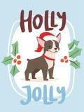 Noël 2018 caractères mignons de chiot de bande dessinée de vecteur de carte de chien illustration libre de droits