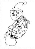 Noël Cat Coloring Page Images stock