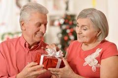 Noël celibrating de couples supérieurs Photo stock