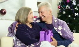 Noël celibrating de couples supérieurs Images libres de droits