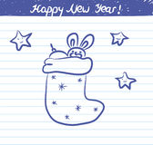 Noël cogne l'illustration pendant la nouvelle année - croquis sur le carnet d'école Photos stock