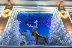 Noël décoré des cerfs communs Photos libres de droits