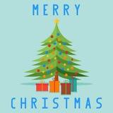 Noël a décoré l'arbre de cadeaux Carte de Noël illustration libre de droits