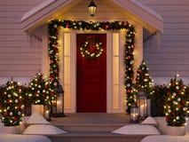 Noël a décoré le porche avec de petits arbres et lanternes rendu 3d Photo libre de droits