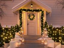 Noël a décoré le porche avec de petits arbres et lanternes rendu 3d Photos stock