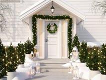 Noël a décoré le porche avec de petits arbres et lanternes rendu 3d Images libres de droits