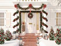 Noël a décoré le porche avec de petits arbres et lanternes rendu 3d Photos libres de droits