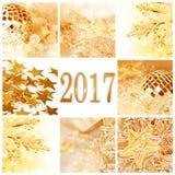 2017, Noël d'or ornemente la carte de voeux carrée Images libres de droits