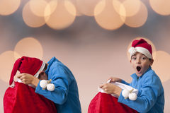 Noël d'ouverture du père noël Photos libres de droits