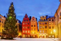 Noël dans la nuit Stockholm, Suède photo stock