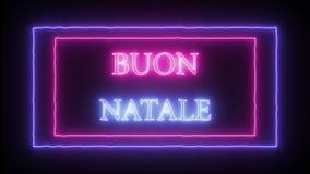 """Noël de """"Buon Natale """"d'enseigne au néon d'animation Joyeux en italien illustration libre de droits"""