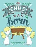 Noël de bible marquant avec des lettres l'enfant d'A était né avec des anges illustration libre de droits