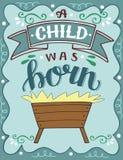 Noël de bible marquant avec des lettres l'enfant d'A était né avec la mangeoire illustration stock