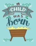 Noël de bible marquant avec des lettres l'enfant d'A était né avec la mangeoire illustration de vecteur