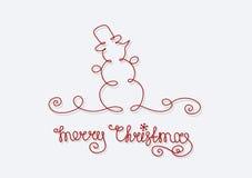 Noël de bonhomme de neige de carte Joyeux Photo stock