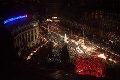 Noël de Bucarest juste de la place d'Universitatii images stock