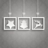 Noël de cadres de Gray Background Ornaments 3 Photographie stock