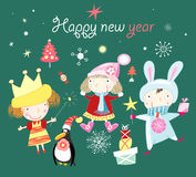 Noël de carte de voeux avec des enfants Image stock