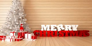 Noël de carte de voeux Joyeux avec l'arbre et les cadeaux de Noël sur le bacground en bois Photos stock