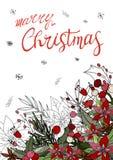 Noël de carte de voeux Joyeux avec la poinsettia illustration libre de droits