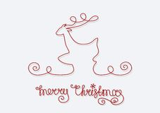 Noël de cerfs communs de carte Joyeux Image stock
