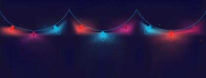 Noël de fête a coloré les guirlandes lumineuses des ampoules sur un fond foncé, onduleux, géométrique avec un gradient aux nuance illustration libre de droits