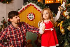 Noël de famille Père et fille Photographie stock